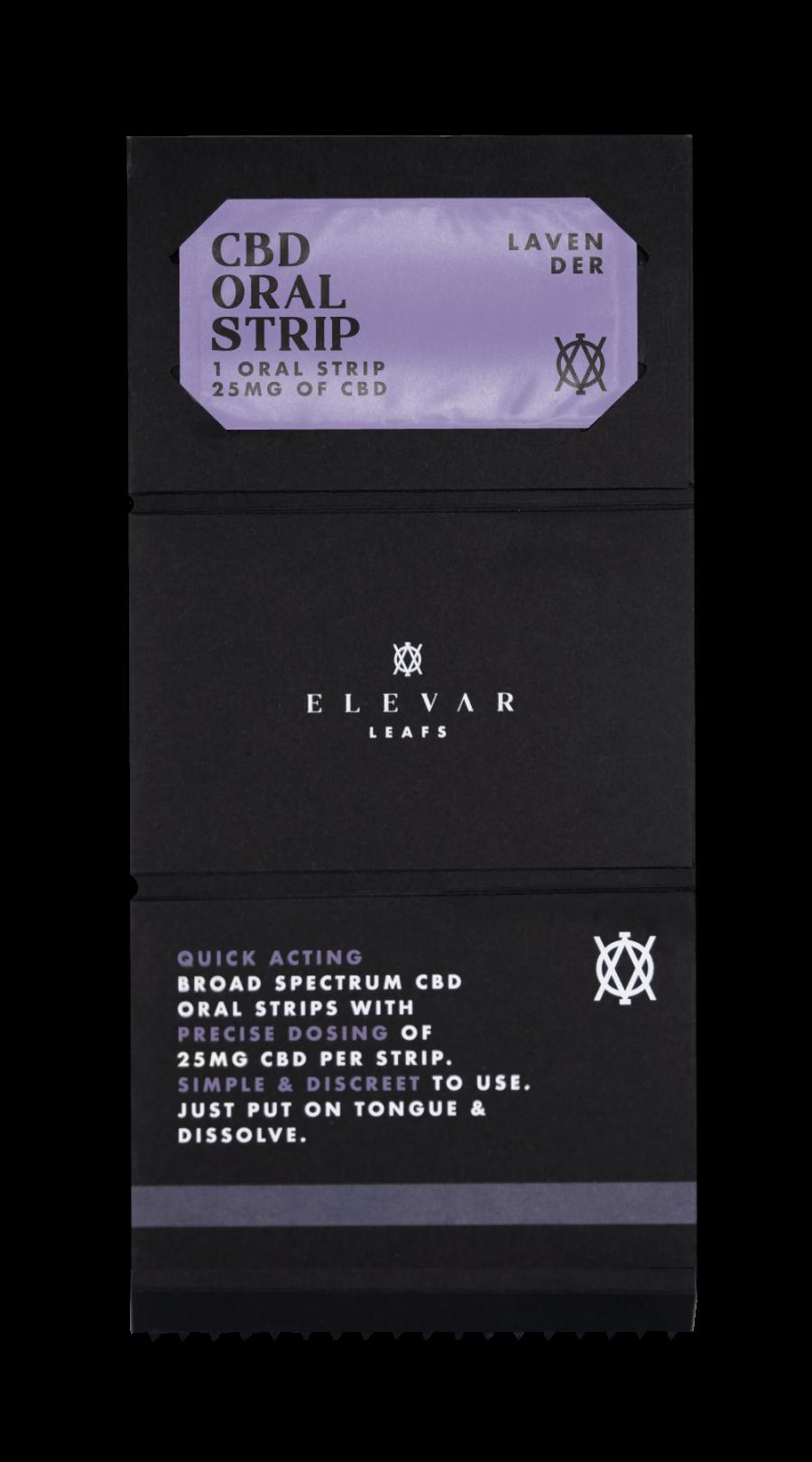 Elevar Hemp CBD Lavender CBD Oral Strips Single Pack Opened