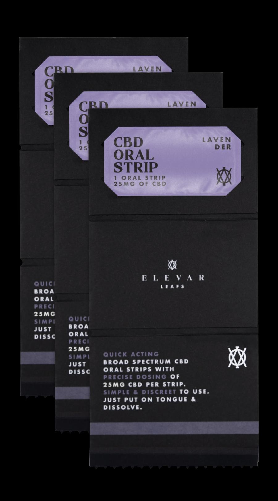 Elevar Hemp CBD Lavender CBD Oral strips 3 Pack Opened