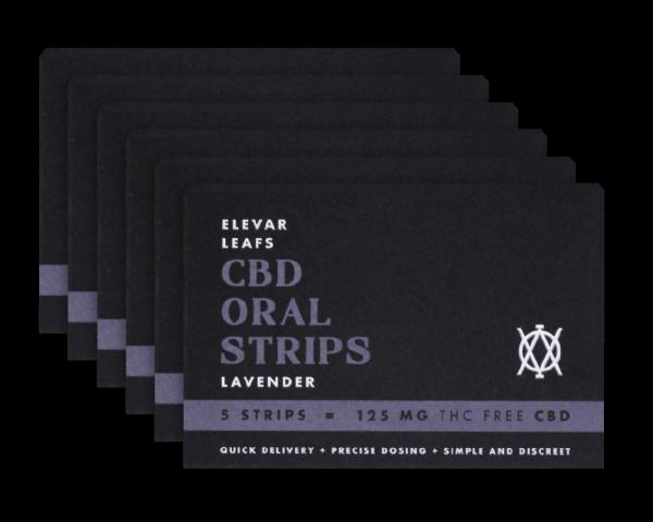 Elevar Hemp CBD Lavender CBD Oral strips 6 Pack Front